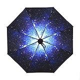 NectaRoy Regenschirm Schirm Taschenschirm, Faltbar Kompakt Vinyl Sonnenschirm UV-Schutz, Windschutz, Regenschutz für Outdoor, Spaziergang und Fürs Auto (Starry night)