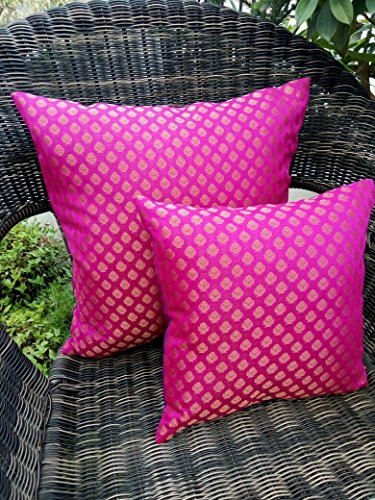 GET BOLD WITH RETRO!! Premium Quality 'PINK & GOLDEN' Brocade Cushion Covers (Set of 2) (12