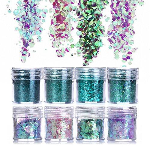 NICOLE DIARY 8 Boxen Nagel Glitter Paillette Bunte Glitter Chunky Flakes Ultradünne Tipps Schillernde MischgrößenGesicht Körper Haar Make-up Nail Art Dekoration (Sparkle Dust Eye)