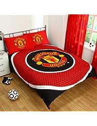Manchester United FC Official Kit housse de couette pour lit Double Motif Noël Excellente idée cadeau pour anniversaire hommes et garçonnets