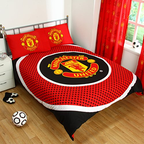 Manchester United FC Bullseye Reversible Duvet Cover Set, Red/Black, Double by Forever Collectibles