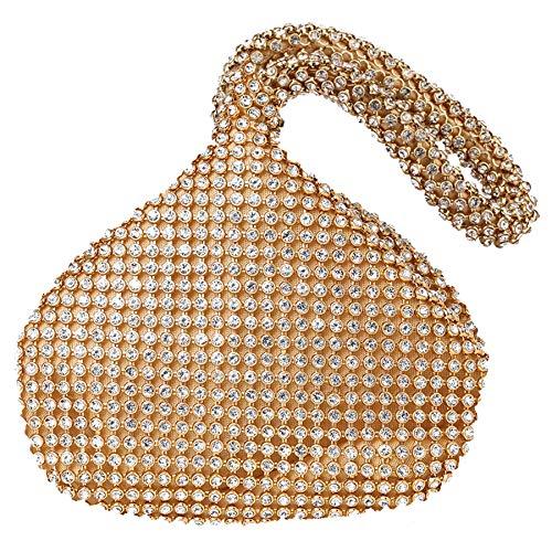 Perlen Bestickte Abendtasche (Coucoland Strass Handtasche Damen 1920s Handtasche Abend Party Clutch Elegante Abschlussball Handtaschen Hochzeit Braut Zubehör (Gold))