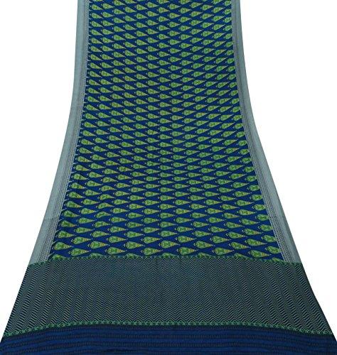 Vintage Indian Blue Art Silk Saree Nizza Stoffdruck Craft Gebrauchte Sari 5 Yards Blue Silk Sari