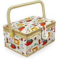 Leogreen - Panier à Couture, Boîte à Couture Portable, 24 x 17,5 x 13 cm, Atelier de Couture Orange, Dimensions: 24 x 17,5 x 13 cm