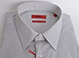 BOSS Hugo Elisha schlanke Passform Herren Business Hemd weiß/schwarz - Weiß, X-Large