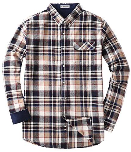 Mocotono Herren Langarm Kariertes Hemd Baumwolle Flanell Hemd mit Super  Qualität Khaki