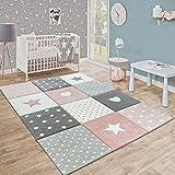 Paco Home Kinderteppich Pastellfarben Kariert Punkte Herzen Sterne Weiß Grau Rosa, Grösse:80x150 cm