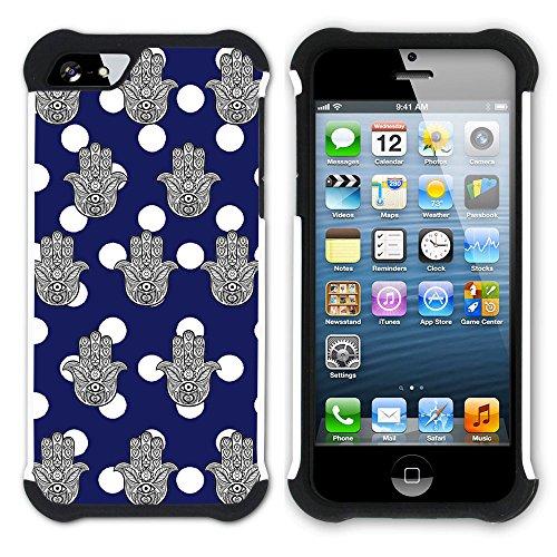 Graphic4You Monogramm Hamsa Hand der Fatima Punktmuster Tupfen Muster (Wasserblau) Hart + Weiche Kratzfeste Hülle Case Schale Tasche Schutzhülle für Apple iPhone SE / 5 / 5S Marineblau