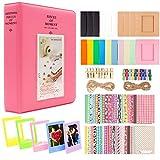 Ablus Store 2x3 Inch Photo Paper Film Album Set for Fujifilm Instax Mini Camera/HP Sprocket Photo Printer/Polaroid Snap, Z2300, SocialMatic Instant Cameras & Zip Instant Printer (Flamingo Pink-1, 64 pockets)