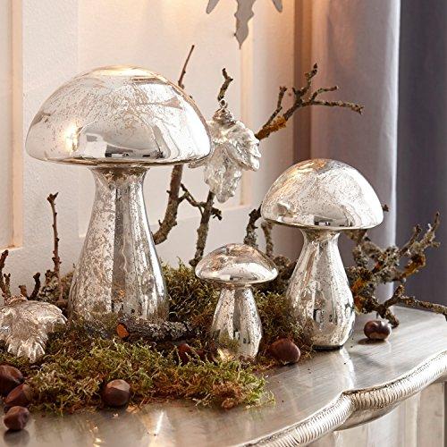 Loberon Deko-Pilze 3er Set Périgord, Glas, H/B/T ca. 17/10 / 10 cm, Weihnachten, Wohn-Accessoires,...