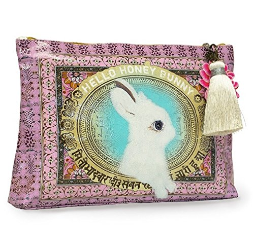 papaya-art-honey-bunny-white-rabbit-oil-cloth-travel-pouch-cosmetic-make-up-bag-by-papaya-art