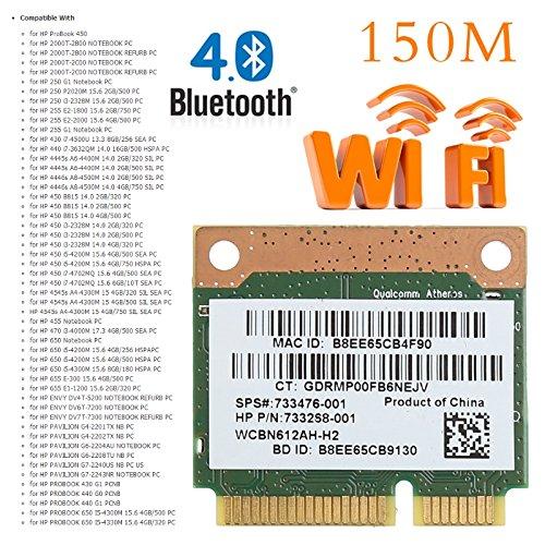 Brolux(TM) 802.11b / g / n WiFi Bluetooth 4.0 Wireless-Halb Mini-PCI-E-Karte f¨¹r HP Atheros AR9565 QCWB335 SPS 690019-001 733476-001 802.11 A/b/g/n Bluetooth