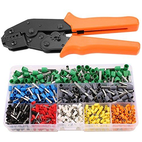 Coocheer Crimpzange Set 0,25-6,0 mm² Verstellbare Ratschenstecker Crimper Werkzeuge mit 800 Aderendhülsen (Spitzkopf) (Automatische Draht-crimp-werkzeug)