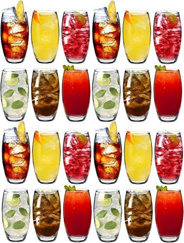 Argon Tableware Tondo - Gläser für Wasser/Saft/Longdrinks - Party-Set mit 24 Gläsern - 510 ml - Saft-set