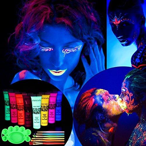 ETEREAUTY UV Bodypainting 8 x 28 ml, Körperfarbe Schwarzlicht fluoreszierende Schminke (Glow In Für Dark-farbe Körper The)