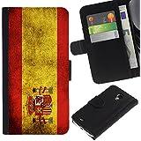 Graphic4You Español Bandera España Vintage Grunge Diseño Cuero Carcasa Funda Monedero para Samsung Galaxy S4 MINI