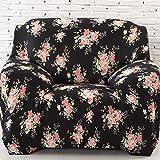 Sofa für 1-Sitzer-Sofa Schonbezug Stretch Elastic Pet Dog Polyester-Couch Displayschutzfolie-Soft Couch Cover Floral Print Bettüberwurf, Schwarz Rose, 1 seater