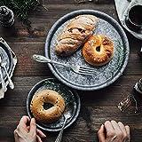 DSFA Handcrafted Metal ServiertablettsRunde SchmiedeeisenAblageDessert Obst KuchenBrottellerHome Küche Dekoration, EIN Satz