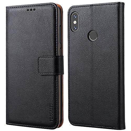 Peakally Xiaomi Mi A2 / 6X Hülle, Premium Leder Tasche Flip Wallet Case [Standfunktion] [Kartenfächern] PU-Leder Schutzhülle Brieftasche Handyhülle für Xiaomi Mi A2 / 6X 5.99-Schwarz