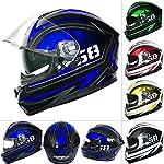 Leopard LEO-828 DVS Full Face Motorbike Helmet Blue/Black/White S Double Sun Visor Motorcycle Crash Helmet