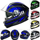 Best Motorcycle Helmets - Leopard LEO-828 DVS Full Face Motorbike Helmet Blue/Black/White Review