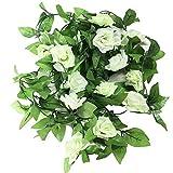 Vintage Künstlicher hängende Rebe Silk Rosen-Blumen-Blätter Dekoration, Gartenhaus Hochzeit Wand Schlafzimmer-Dekor - 2er-Pack, Weiss