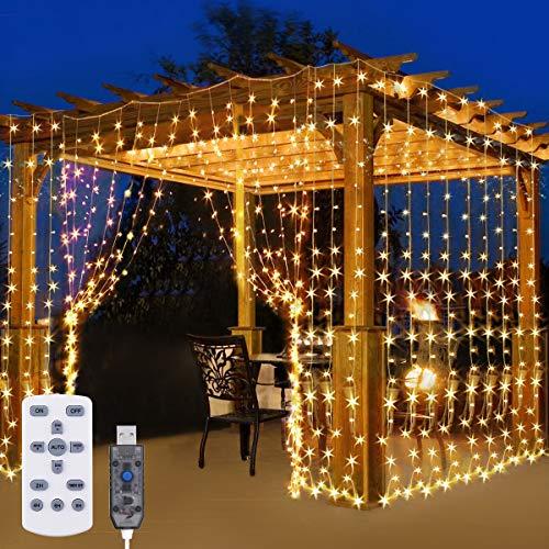Elfeland Lichtervorhang 3x3m, 300 LED Lichterkette mit Fernbedienung Lichterkettenvorhang Vorhang Licht mit 8 Lichtmodi Timer für Innen außen Schlafzimmer Party Hochzeit IP65 USB Warmweiß Dimmbar
