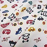 Stoff Baumwolle Jersey weiß Auto Teddy Panda