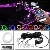 MEROURII - Luce Interna LED RGB Auto, Con APP, Cavo Fibra Ottica, 3 X 2 M, 2 X 4 M (Cavo 6 M), Decorazione Auto