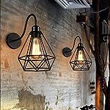 2 pack Appliques Murales Vintage Industrielle Noir Diamant Cage en Métal Plafonnier Luminaire Rétro Applique Intérieure Décor