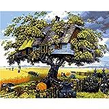 Shukqueen DIY Erwachsenen Öl-Gemälde, Malen nach Zahlen Kits Acryl painting-fantasy Baumhaus, 16x 20cm, Frameless,Just Canvas