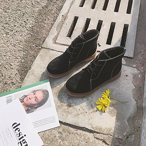 HSXZ Scarpe donna pu inverno combattere Stivali Stivali tacco piatto rotondo Mid-Calf Toe stivali per Casual Khaki nero di mandorla Khaki