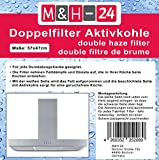 M&H-24 Universal Filter Fettfilter Aktivkohlefilter / Aktiv-Kohlefilter für Dunstabzugshauben - zuschneidbar - 47x57cm - Set Fettfilter + Aktivkohle für geruchsfreie Küche (c) 4 Stück)