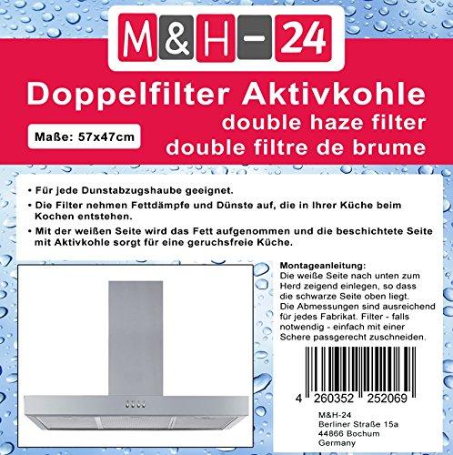 M&H-24 Filter Dunstabzug Aktivkohle-Filter Dunstabzugshaube, Fettfilter + Aktivkohlefilter für Dunstabzugshauben geeignet, zuschneidbar, 57 x 47 cm