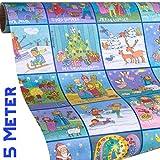 Kinder Weihnachts Geschenkpapier MEMORY - Geschenkpapier Weihnachten Kinder - 5m Rolle mit 9x Geschenkanhänger - Mädchen & Jungs - zu Weihnachten und Advent - klimaneutral