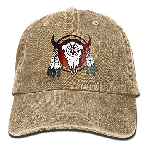 No Soy Como Tu Native American Buffalo Skull Arrowhead Indian Denim Hat Washed Baseball Cap Buffalo Denim