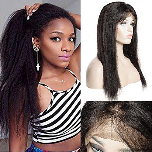 Perruque Femme Vrai Cheveux 100% Cheveux Humains Naturels Bresiliens Remy Lace Front Wig - Yaki Raide (Densité: 130%, Longueur: 10\\