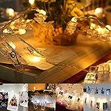 LED Foto Clips Lichterkette, Jtdeal 16 Foto Clips, 4 Meter, batteriebetrieben für Fotos Karten Bilder Weihnachten, Geburtstag, Hochzeit, Party, Zimmer,Warmweiß