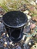 Granitlampe Granitlaterne rund Grablampe Schwarz Uni 20cm x 12cm Friedhofslicht Friedhofslampe Grablicht