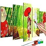 murando - Malen nach Zahlen Geisha Zen 150x60 cm 5 TLG Malset mit Holzrahmen auf Leinwand für Erwachsene Kinder Gemälde Handgemalt Kit DIY Geschenk Dekoration n-A-0628-d-m