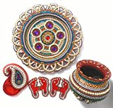 Handcrafted Decorative Puja Thali Set/ Wedding Thali/ Marriage Thali/ Makarsankrant Thali/ Aarti Thali/Pongal Festival Thali with Decorated Plate, Kalash, Kumkum Holder and Charan