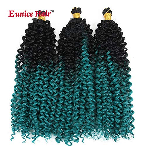 6 Packs Eunice Hair Water Wave Crochet Braids Hair Extensions 35 Wurzeln/Pack Kunsthaar Synthetik Haar Heimwerker Crochet Zöpfe Ombre Grüne 2Tone Color Curly Hair 100 Gram/PC 35 CM (W-8) Blacklight Blue Compact