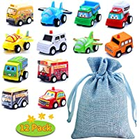 BBLIKE 12pcs Mini Cars Pull back and Go Classic Construction Team Vehicles Set, Cake Decoration Plastic Model Toy Sets, Vehicle Play for 3 Year Old Kids