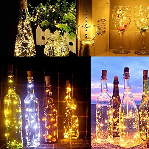 Luz de Botella,12pack 2m 20LEDLuces Para Botellas la Decoración de LED Para las Luces de la Botella del Cobre de la Secuencia Amistosa Económica de la Luz del Corcho del Partido (2M 20LEDs-12pcs)