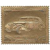 Islas Bernera Escocia : Classic Cars - Citroën Traction Avant 1934 / Oro Folio Stamp - perforada . Valor nominal £ 12 / 1987 / Bernera / MNH