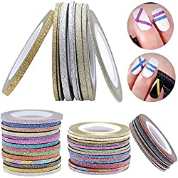 gabbrein 30unidades 15colores Skinny con purpurina cinta adhesiva con estampado para uñas decoración manualidades Arte DIY cintas cinta de carrocero