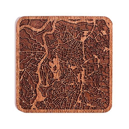Jerusalem Stadtplan Untersetzer, One piece, Sapele Wooden Coaster with city map, Multiple city optional, Handmade