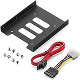 """deleyCON Einbaurahmen für 2,5"""" Festplatten SSD's auf 3,5"""" Adapter Wechselrahmen Mounting Frame Halterung Schienen inkl. Schrauben SATA Kabel und Stromadapter"""