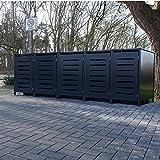 5 Mülltonnenboxen Modell No.6 für 120 Liter Mülltonnen / komplett Anthrazit RAL 7016 / witterungsbeständig durch Pulverbeschichtung / mit Klappdeckel und Fronttür