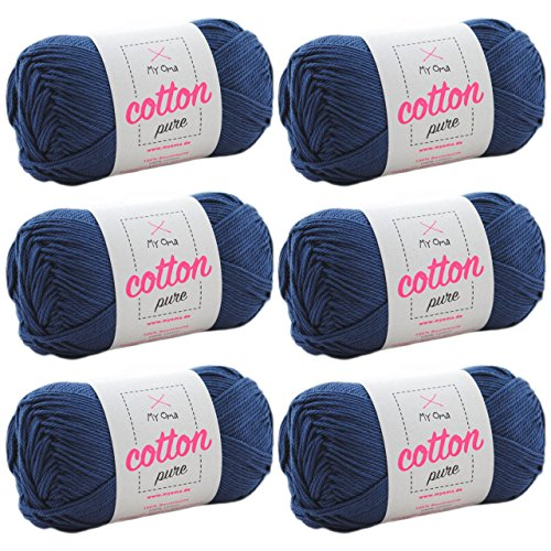 MyOma Baumwolle häkeln Cotton Pure Nachtblau (Fb 0126)* Baumwolle zum Stricken und Häkeln + GRATIS Anleitung - 6 Knäuel Baumwolle dunkelblau/blaues Baumwollgarn 50g/125m - Nadelstärke 2,5-3,5mm - 3 Größe Baumwollgarn